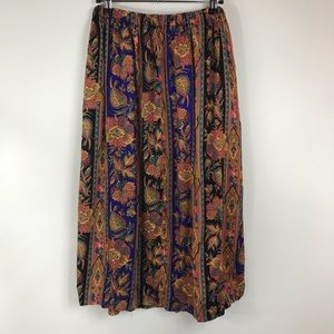 New Name in Town Skirts - VINTAGE | Floral Leaf Print A Line Skirt